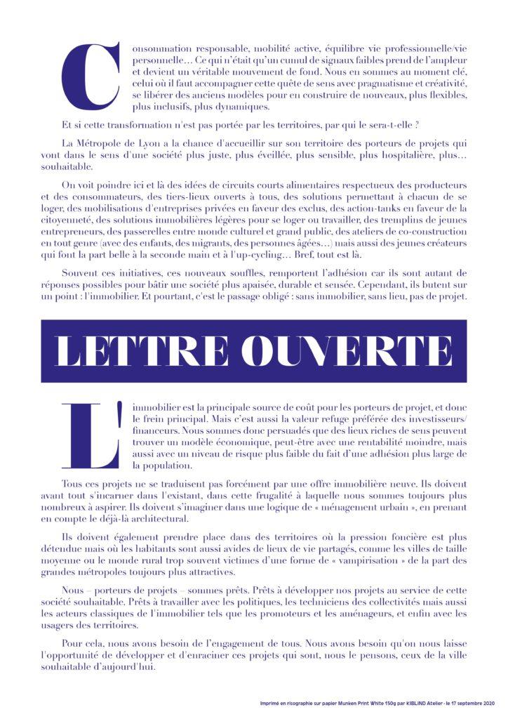 Lettre ouverte du 17 septembre 2020